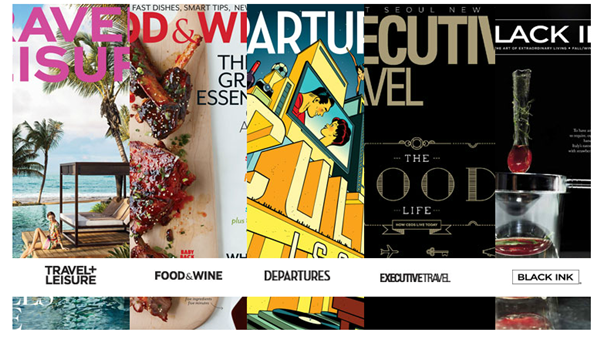 American Espress Publishing's titles: Travel & Leisure, Food & Wine, Departures, Executive Travel and Black Ink