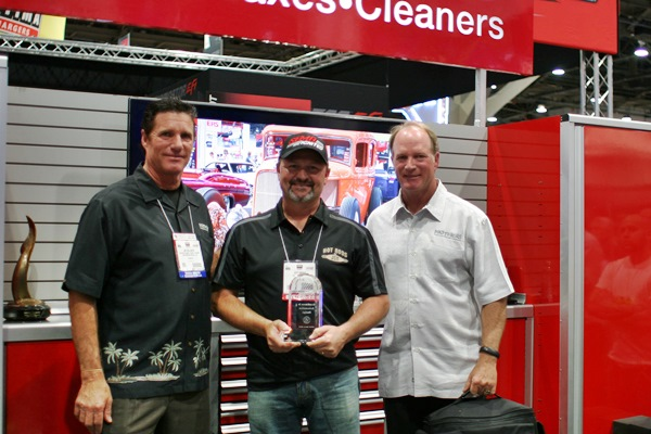 Left to right: Jim Holloway of Mothers®, builder Jeff Kinsey of Hot Rods by JSK and Dennis Holloway of Mothers®.
